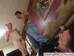 Kinky wife fucked infront of husband