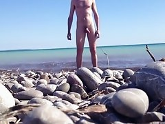 beach soft cock wanking and helicopter