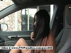 Alexa Loren amazing brunette girl climbs into a car