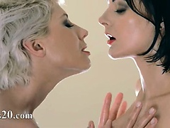 Horny pornstars play with their strap on