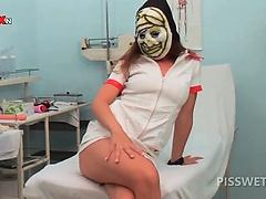 Blonde hottie gets her cunt licked by piss lover nurse