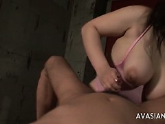 Big tit Asian blowjob