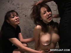Asian slave in chains ass toyed and mouth fucked hardcore