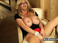 Blonde milf with huge tits loves playing