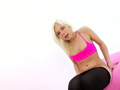 Blond coed destroying her tight anus
