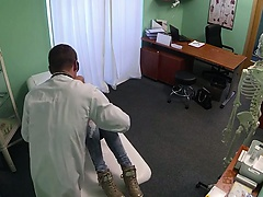 Doctor with gloves finger fucking blonde in office