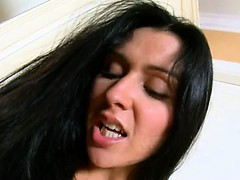 Brutal pink dildo and charming blackhair