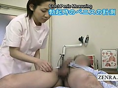 Subtitles CFNM Japanese nurse measuring handjob cumshot
