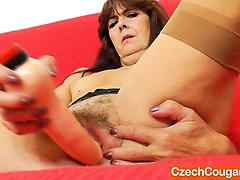 Lada gapes her unshaved fuck hole in juicy panty-hose and