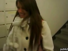 Busty Czech babe sucks cock in an elevator then rides on it at the hallway after taking money from a pervert stranger